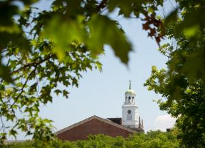 Shot of Rockwell Hall bell tower through the trees