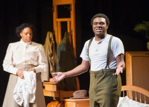Male and female student actors in costume from the play Intimate Apparel
