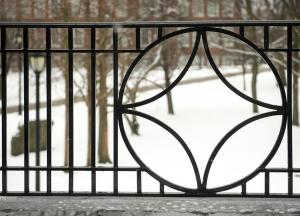 Wrought iron detail on Ketchum Hall at SUNY Buffalo State College
