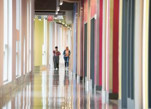 Students walking in Science Building corridor at Buffalo State College